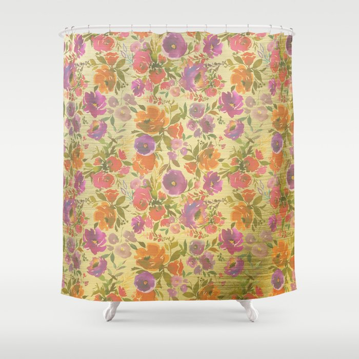 Elegant Botanical Yellow Gold Pink Purple Floral Shower Curtain By Water