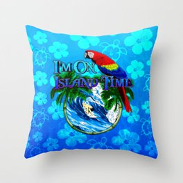 Blue Flowers Island Time Surf Throw Pillow