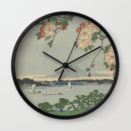 Cherry Blossoms on Spring River Ukiyo-e Japanese Art Wall Clock