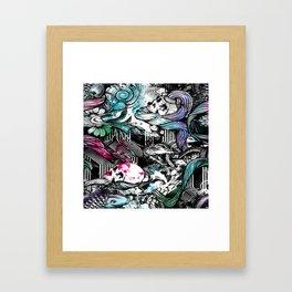 Skulls and fish repeat pattern. Framed Art Print