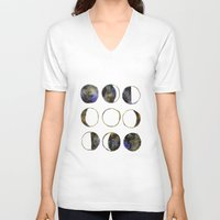 moon phases V-neck T-shirts featuring Phases of the Moon by Lindsay Milgrim