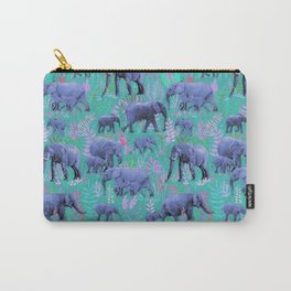 Sweet Elephants in Bright Teal, Pink and Purple Carry-All Pouch