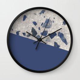 Terrazzo Texture Dark Blue #2 Wall Clock