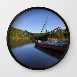 Canoe Photography, Lake Photography, Nature Landscape Print Wall Clock