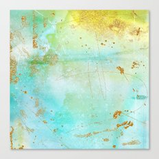 Aqua and Yellow Watercolor Wash With Faux Gold Glitter Canvas Print