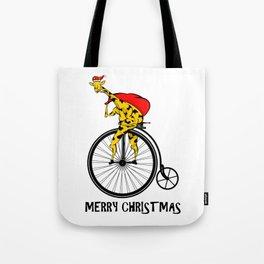Giraffe on a bike Santa Claus Tote Bag