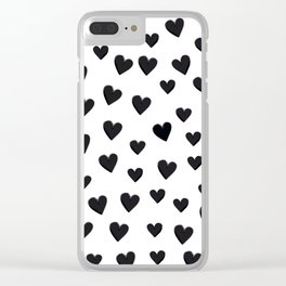 Hearts Love Black and White Pattern Clear iPhone Case