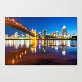 Ohio River Reflections of the Downtown Cincinnati Skyline Canvas Print