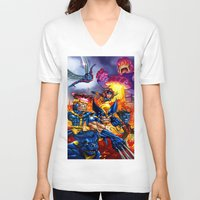 x men V-neck T-shirts featuring X - MEN by Vincent Trinidad