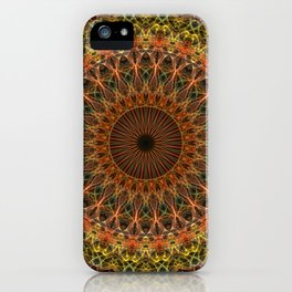 Brown and golden mandala iPhone Case