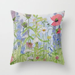 Flowers Alive Watercolor Throw Pillow