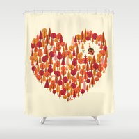 pun Shower Curtains featuring Wild at Heart by Wharton