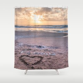 Love note Te Amo with the heart drawing on the beach at sunrise Shower Curtain