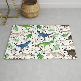 Watercolor Dinosaurs Rug
