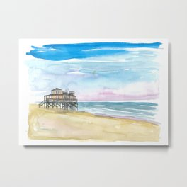 Outer Banks House At the Sea Metal Print
