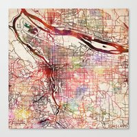 portland Canvas Prints featuring Portland by MapMapMaps.Watercolors