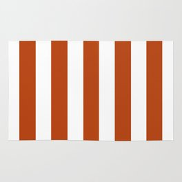 Rust brown - solid color - white vertical lines pattern Rug