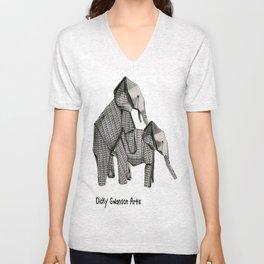 Elephant Conservation Origami Unisex V-Neck