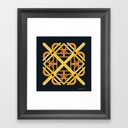 Interlaced Love Mandala - Black Gold Framed Art Print