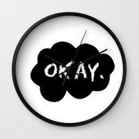 okay Wall Clocks featuring Okay by Hoeroine
