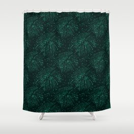 Elegant abstract forest green glitter tropical leaves Shower Curtain