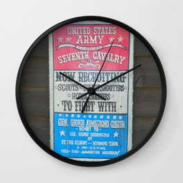 Seventh Cavalry Recruiting Sign Wall Clock