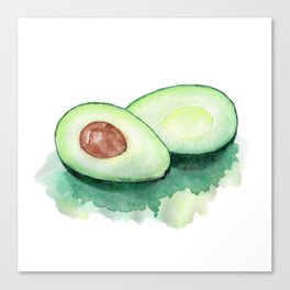 Avocado Watercolor Canvas Print