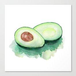 Avocado Watercolor Canvas Print