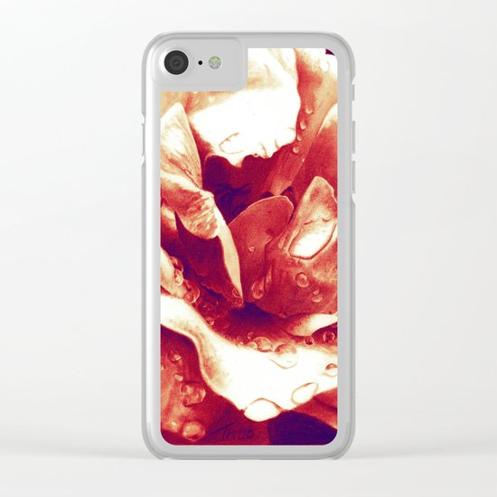 Morning Rose - Red Clear iPhone Case