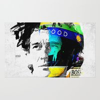 senna Area & Throw Rugs featuring Ayrton Senna do Brasil - White & Color Series #4 by Universo do Sofa - Artes & Etecetera