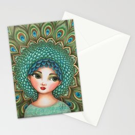 Peacock girl Stationery Cards