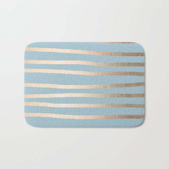 Abstract Drawn Stripes Gold Tropical Ocean Sea Blue Bath Mat