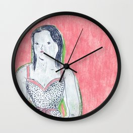 the girl is waiting Wall Clock
