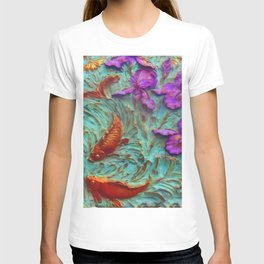 DIMENSIONAL PURPLE IRIS FLOWERS & GOLDEN KOI FISH T-shirt