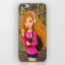 Girl with headphones iPhone Skin