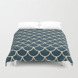 Dark Blue & Beige Fish Scales Pattern Duvet Cover