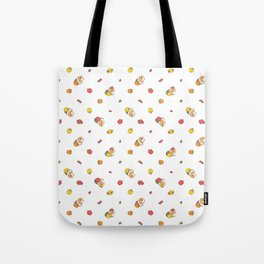 Bell Peppers and Guinea Pigs Pattern in White Background Tote Bag