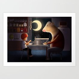 Girl and her best friend Cow | Illustration Art Print