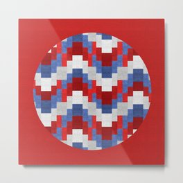 Red White Blue Zig Zag Design Metal Print