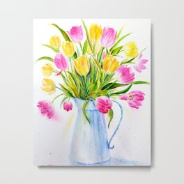 Watercolor vase of tulips Metal Print