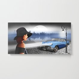 The beauty at night with vintage car Metal Print