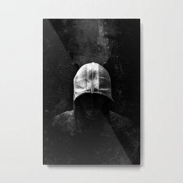 Modern Assassin Hood - B&W Metal Print