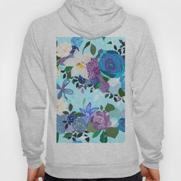 Blue and purple colored roses. Vanilla and abstract flowers. Floral pattern Hoody
