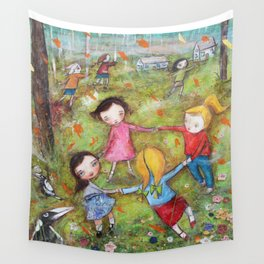 Autumn Mistral, playing ring-a-ring-a-rosie on a windy day Wall Tapestry