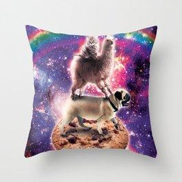 Space Cat Llama Pug Riding Cookie Throw Pillow
