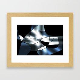 ABSTRACT CURVES #1 (Black, Grays & White) Framed Art Print