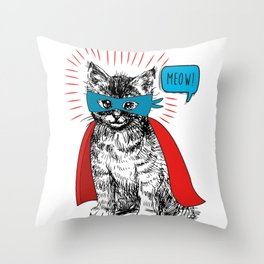 The Caped Purr-sader Throw Pillow