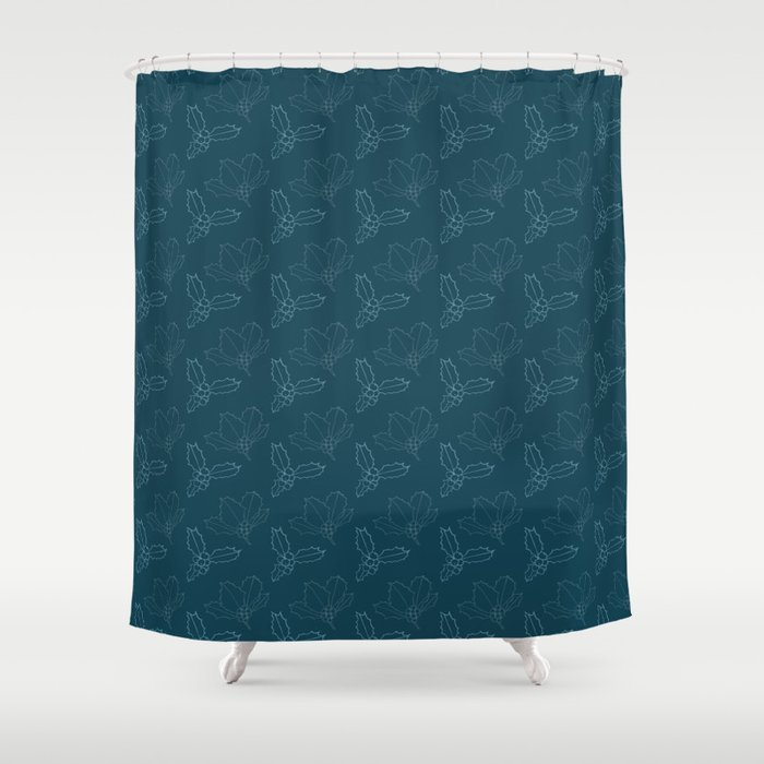 Holy Berries on Blue Shower Curtain