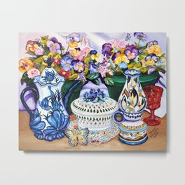 Pansies and Teapot oil Still Life Metal Print