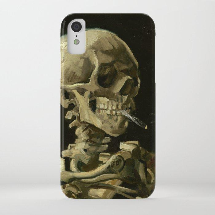 vincent van gogh - skull of a skeleton with burning cigarette iphone case